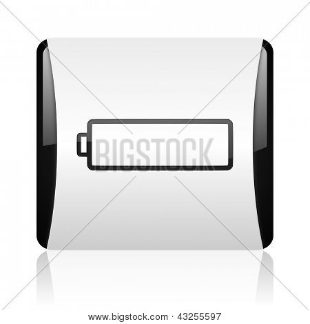 battery black and white square web glossy icon