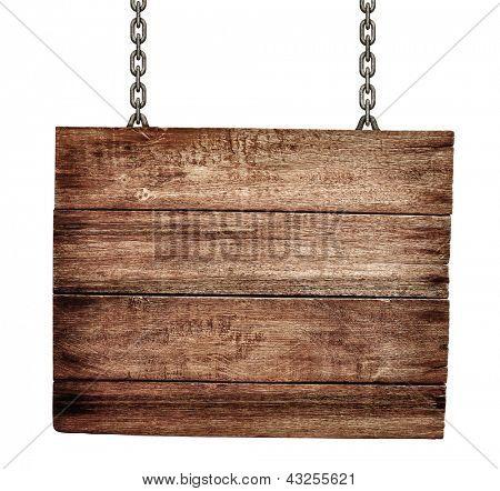 tabuleta de madeira velha com cadeias isoladas