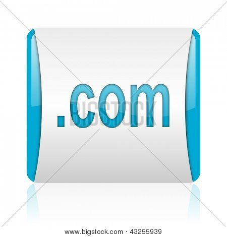 com blue and white square web glossy icon