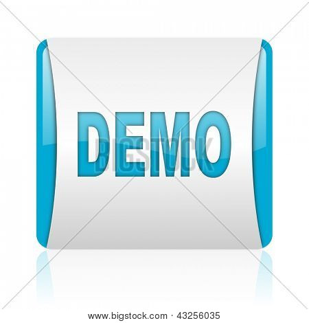 demo blue and white square web glossy icon