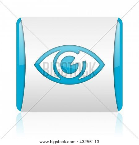 eye blue and white square web glossy icon