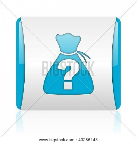 riddle blue and white square web glossy icon