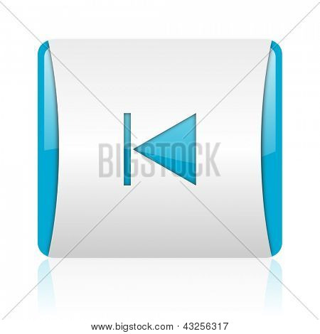 prev blue and white square web glossy icon