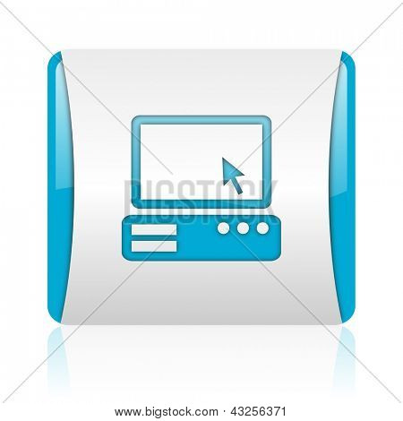 pc blue and white square web glossy icon