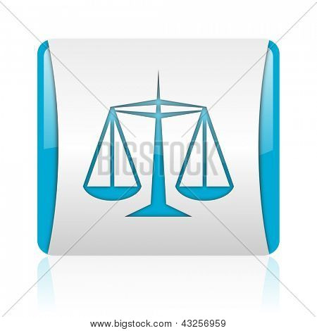 justice blue and white square web glossy icon