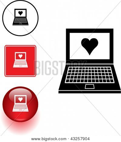 Computer or laptop love symbol sign and button