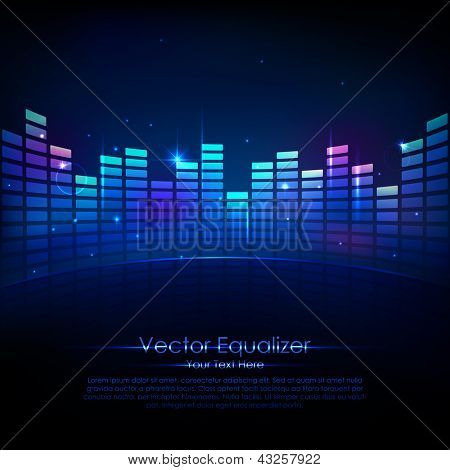 Illustration of music equalizer bar in shiny background