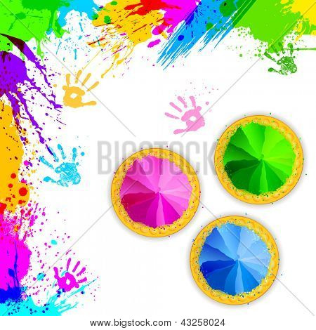 Illustration of bowls for Holi background