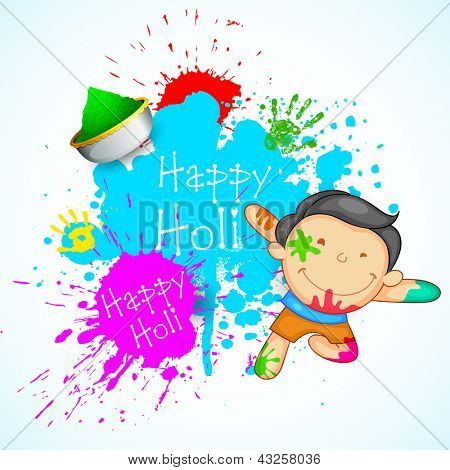 Illustration of kids playing holi with color and gulal