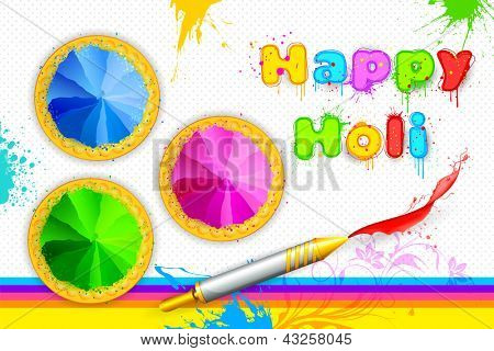 Illustration of bowl full of colorful gulal for Holi background