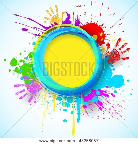 Illustration of holi background with hand print and colorful grunge