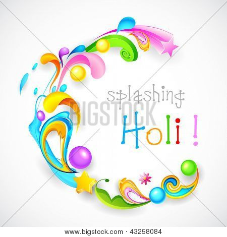 Illustration of colorful color splash and floral in Holi background