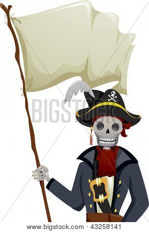Illustration of a Pirate Skeleton Waving a Blank Flag