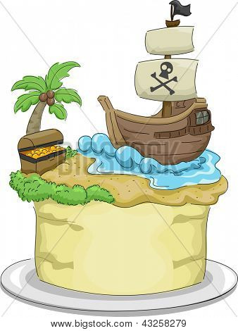 Illustration of a cake with a Pirate theme