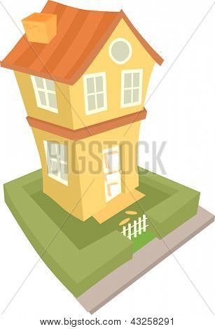 Illustration of a Two Storey House viewed from an angle