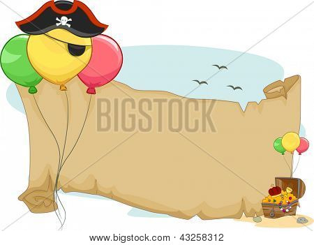 Illustration of a Pirate Party Scroll with Balloons