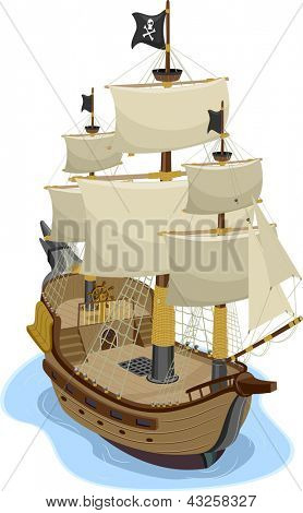 Illustration of Pirate Ship in two-point perspective