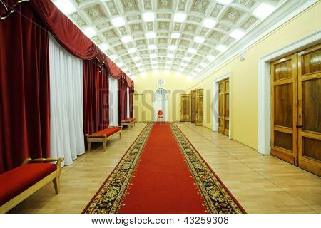 MOSCOW - JANUARY 27: Hall with red carpet in Palace on Yauza on January 27, 2012 in Moscow, Russia. Building of the palace on Yauza was built in 1903 by decision of City Council.