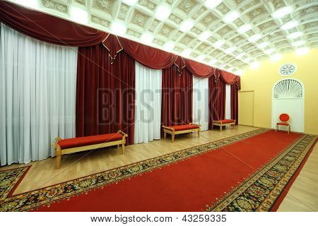 MOSCOW - JANUARY 27: Empty Hall with red carpet in Palace on Yauza on January 27, 2012 in Moscow, Russia. Palace has 5 halls different capacity with good acoustics.
