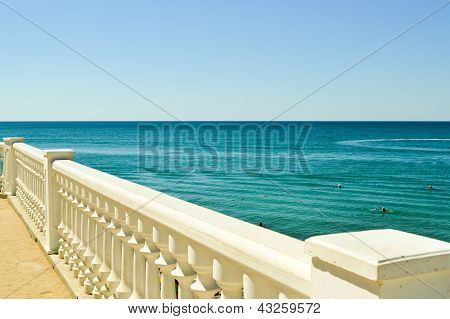 Summer sea view with classic white balustrade