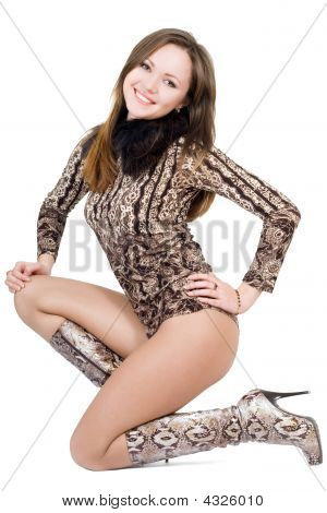 Young Sexy Beautiful Woman. Isolated On White