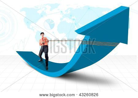 Businessman Pull Arrow On World Map Background