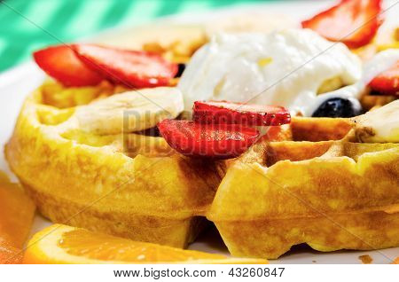 Waffle, Ice Cream, And Fruits