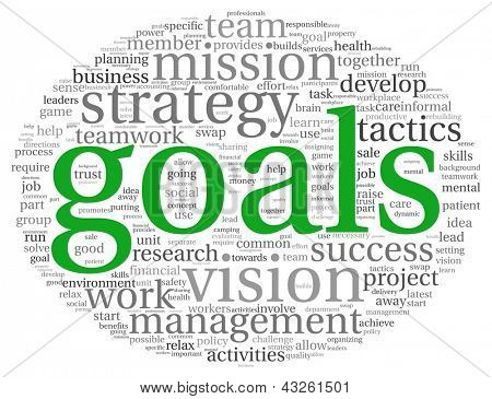 Goals in business concept in word tag cloud