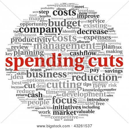 Costs cutting concept in word tag cloud