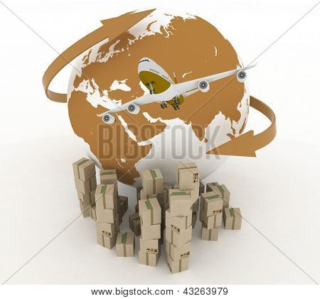 airliner with globe with boxes on white. 3d global business commerce concept
