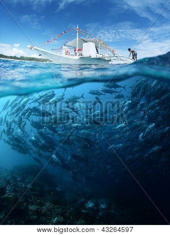 Collage with school of Jack fish underwater and traditional boat on a surface at sunny day