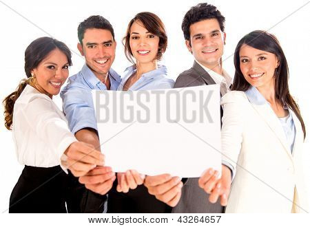 Business team holding a banner or document - isolated over white