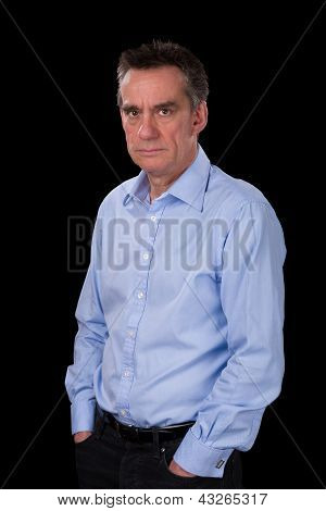 Angry Frowning Business Man In Blue Shirt