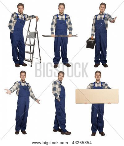 Worker with a stepladder isolated on white background