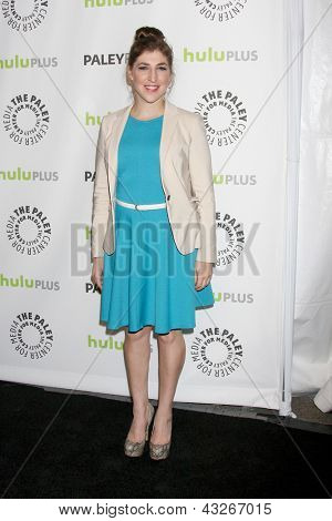 """LOS ANGELES - MAR 13:  Mayim Bialik arrives at the  """"Big Bang Theory"""" PaleyFEST Event at the Saban Theater on March 13, 2013 in Los Angeles, CA"""