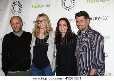 LOS ANGELES - MAR 11:  Dave Finkel, Elizabeth Meriwether, Katherine Pope and  Brett Baer arrive at the