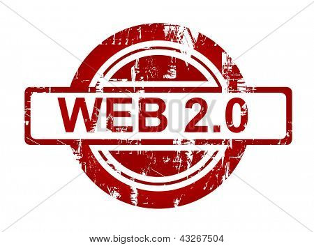 Web 2.0 stamp isolated on white background.