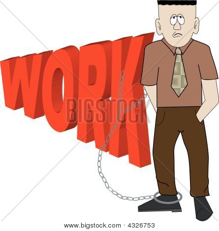 Business Man Chained To Work