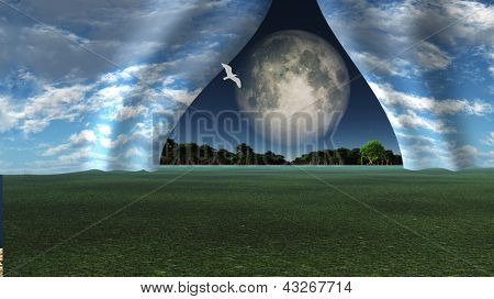 Sky pulled apart like curtain to reveal other landscape with giant full moon