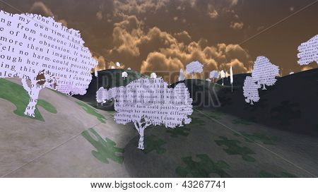 Paper trees with text in mystical landscape from My own writings