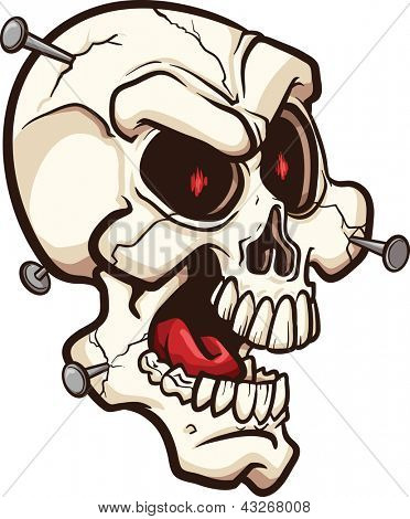 Skull with nails. Vector clip art illustration. All in a single layer.