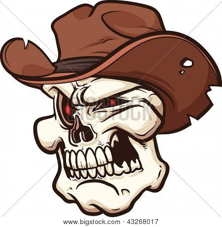 Cowboy skull. Vector clip art illustration with simple gradients. All in a single layer.