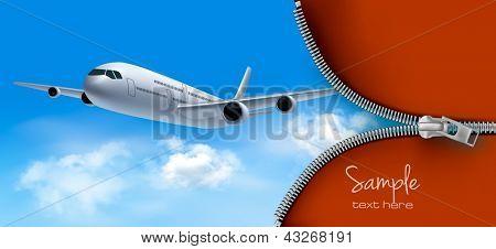 Reisen Sie Hintergrund mit Flugzeug und weißen Wolken. Vektor