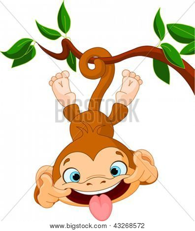 Cute baby monkey hamming on a tree. Perfect for April Fools' Day