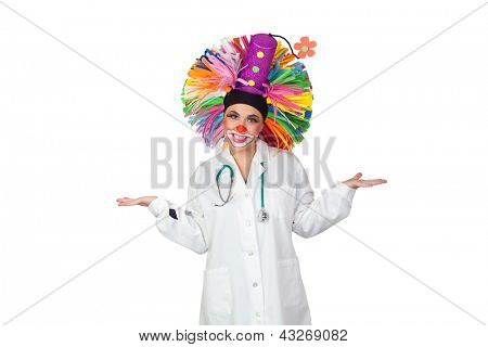 Doctor wearing a clown smiling isolated on white background