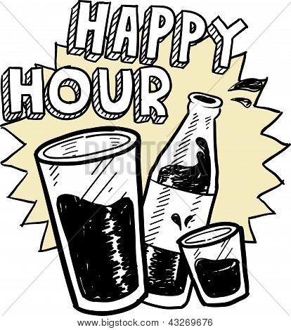 Happy hour alcohol sketch