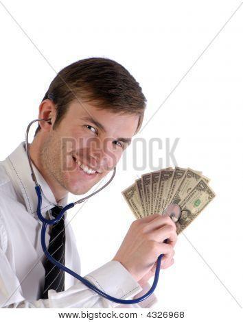 Man,  Stethoscope And Money