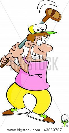Cartoon golfer hitting a golf ball