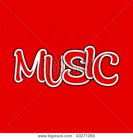 Abstract Music text on red background.