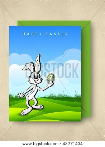 Greeting or gift card for Happy Easter with Easter bunny.